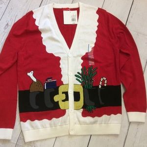Santa Claus Red Cardigan Ugly Christmas Sweater L